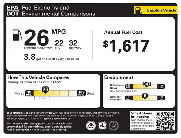 Fuel Economy label EPA design August 2010