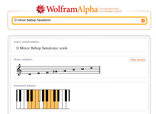 Wolfram Alpha D minor bebop hexatonic scale result